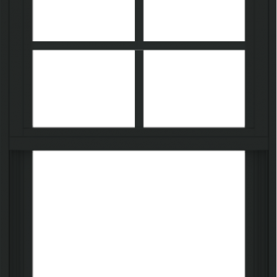 WDMA 24x36 (23.5 x 35.6 inch) black uPVC/Vinyl Single and Double Hung Window with Top Colonial Grids Exterior