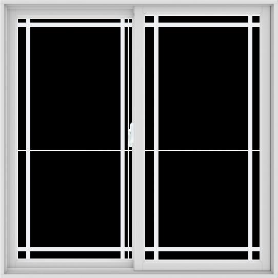 WDMA 60X60 (59.5 x 59.5 inch) White uPVC/Vinyl Sliding Window with Prairie Grilles