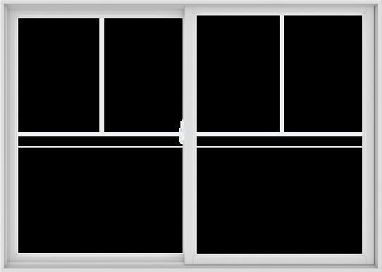 WDMA 84X60 (83.5 x 59.5 inch) White uPVC/Vinyl Sliding Window with Fractional Grilles