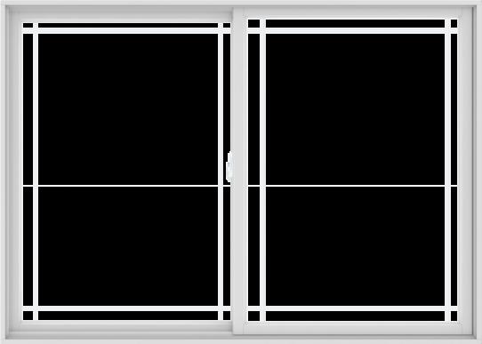 WDMA 84X60 (83.5 x 59.5 inch) White uPVC/Vinyl Sliding Window with Prairie Grilles