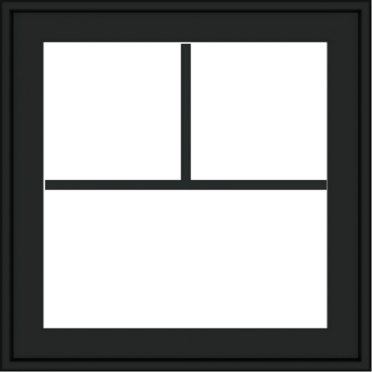 WDMA 24x24 (23.5 x 23.5 inch) black uPVC/Vinyl Crank out Awning Window with Fractional Grilles Exterior
