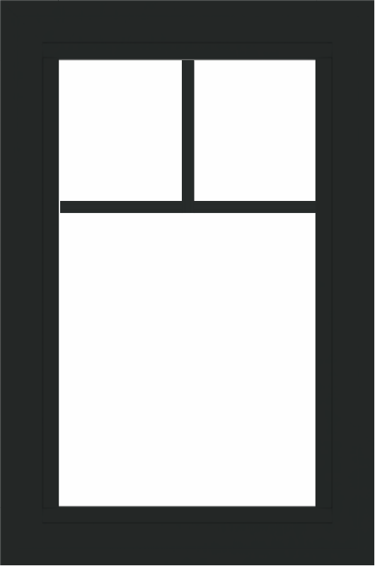 WDMA 24x36 (23.5 x 35.5 inch) black uPVC/Vinyl Picture Window with Fractional Grilles Interior