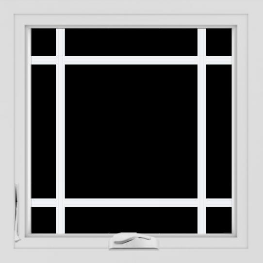 WDMA 24x24 (23.5 x 23.5 inch) White uPVC/Vinyl Crank out Casement Window with Prairie Grilles
