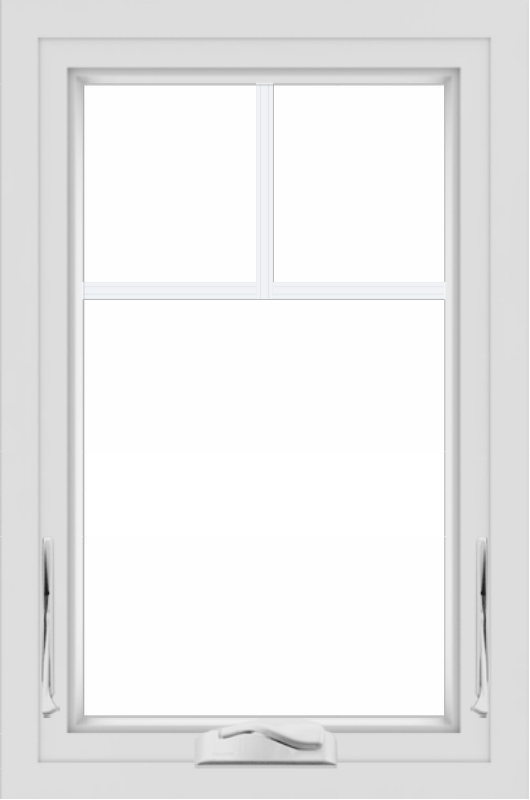 WDMA 24x36 (24.5 x 36.5 inch) White uPVC/Vinyl Crank out Awning Window with Fractional Grilles
