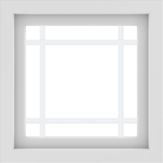 WDMA 24x24 (23.5 x 23.5 inch) White uPVC/Vinyl Picture Window with Prairie Grilles