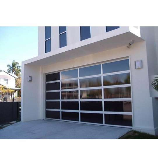 China WDMA 16x7 5 Panel Frosted Glass Garage Door With Pedestrian Door Sizes And Prices For Sale