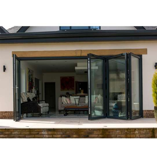 China WDMA 16x8 Foot Insulated Clear Glass Folding Door fot Sale