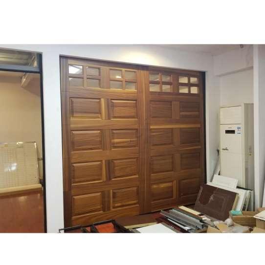 WDMA 16x8 Mahogany Wood Look Tilt Up Slide Up Garage Door Fabric 2 Car Garage Door