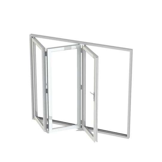 China WDMA Aluminum Bifold Sliding Folding Triple Glazed Corner Windows