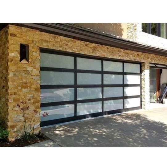WDMA Aluminum Full View Door Powder Coated Black With Frosted Glass Garage Door