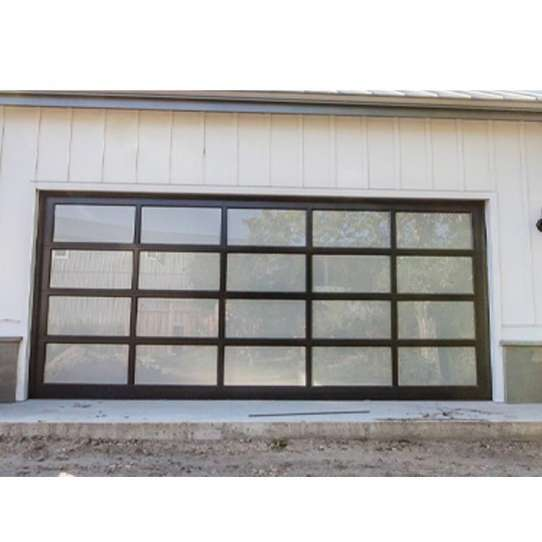 China WDMA Aluminum Full View Door Powder Coated Black With Frosted Glass Garage Door