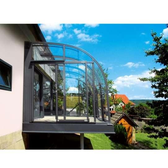 WDMA Beautiful Design Curved Glass Veranda Glass Sunrooms Grey Color