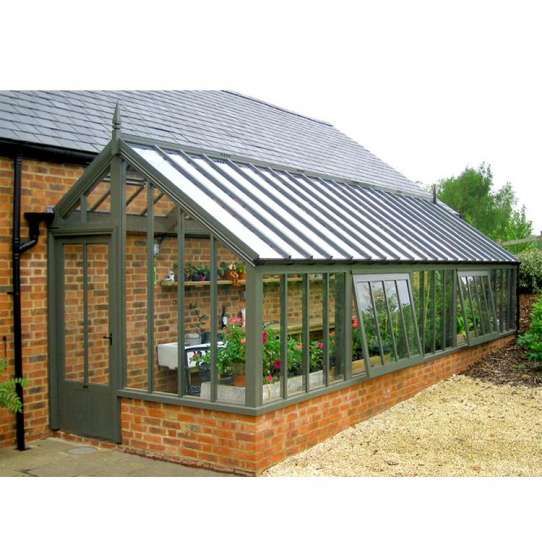 WDMA Beautiful Design Glass Green Garden House Free Standing Sun Rooms Grey Color