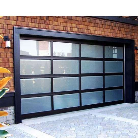 WDMA Black Aluminum Glass Full View Garage Door Mirriored Glass Panoramic Garage Door For House