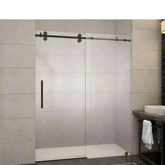 WDMA Black Arched Round Curved Siding Glass Shower Door Shower Cabin Shower Enclosure