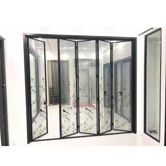 WDMA Black Color Corner Vertical Aluminum Interior Fiber Glass Bifold Stacking Doors