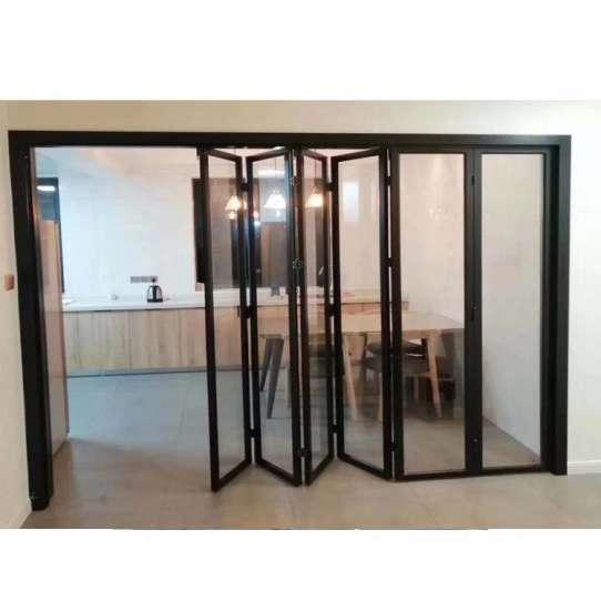 China WDMA Black Color Corner Vertical Aluminum Interior Fiber Glass Bifold Stacking Doors