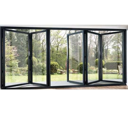WDMA Black Five Panels Aluminium Bi-folding Door Double Glazed Exterior Bifold Door For Commercial Use