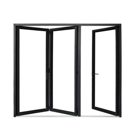 China WDMA Black Five Panels Aluminium Bi-folding Door Double Glazed Exterior Bifold Door For Commercial Use