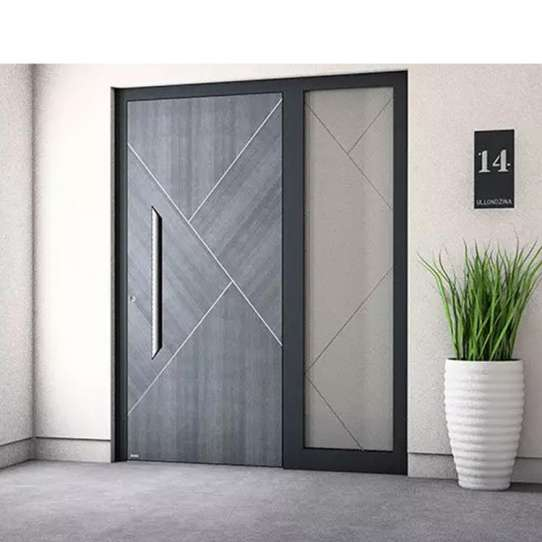 China WDMA Black Main Pivot Entry Door Security Armored Stainless Steel Entrance Metal Pivot Front Door For Villa
