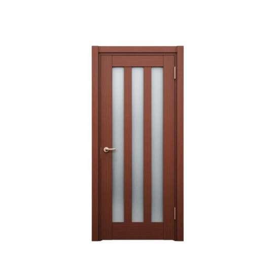 China WDMA Brown Color Wooden Interior Glass Door Flush Door Design Modern House Door