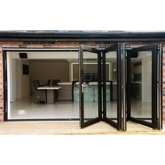 China WDMA Cheap Aluminium Exterior Bi Fold Folding Window Door Double Glaze Glass Accordion Door With Locks