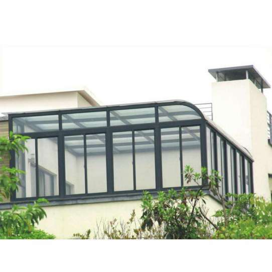 China WDMA China Factory Customized Curved Glass Sunrooms Aluminium Sunrooms Grey Color