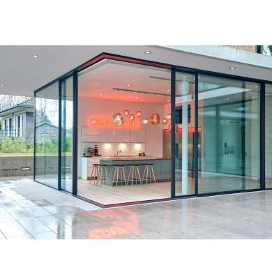 WDMA Chinese Soundproof 3 Panel Corner Sliding Patio Door Mirror Design Price