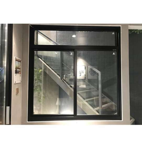 China WDMA Commercial Big Brown Aluminum 4 Panel Blue Tinted Glass Roller Sliding Windows Mosquito Netting With Transom Window