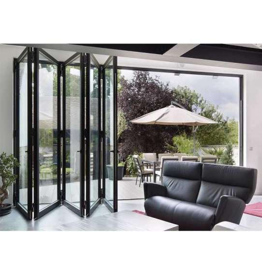 China WDMA Customized Latest Commercial Aluminum Bifold Folding Glass Door