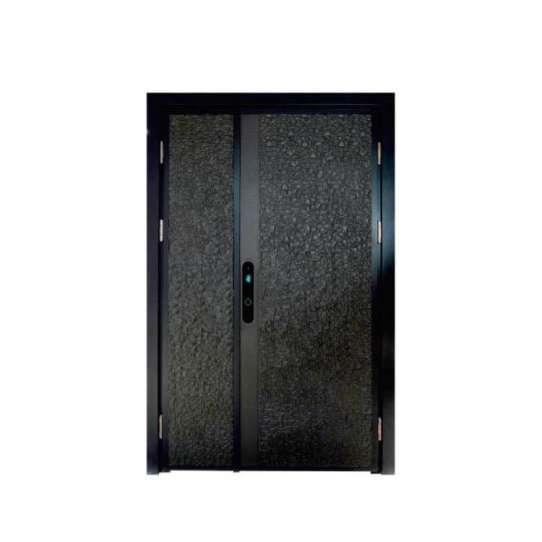 China WDMA Exterior Entrance Luxury Front Wood Grain French Door Aluminium Villa Door