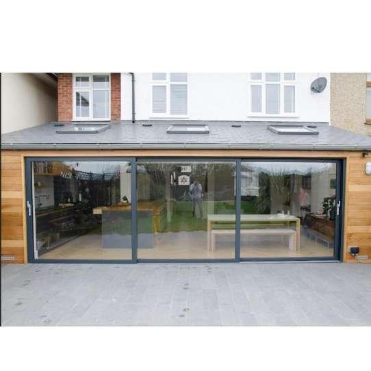 WDMA Exterior Outdoor Heavy Duty 3 Three Panel Aluminium Triple Glass Sliding Patio Door System For Terrace And Balcony