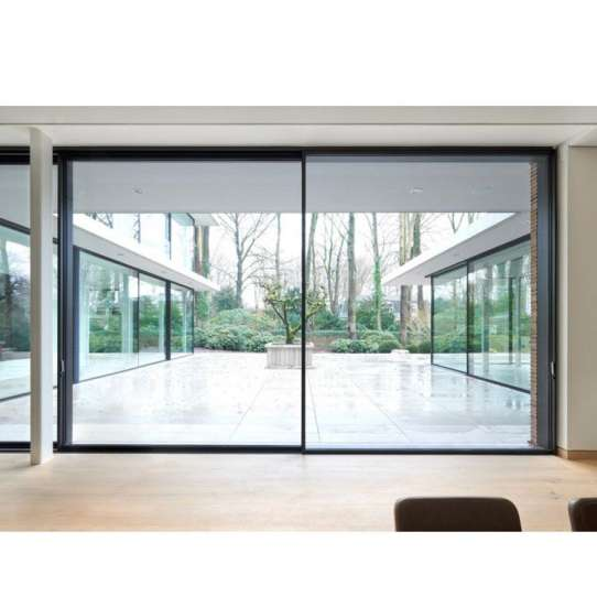 China WDMA Exterior Remote Control Open Commercial Large Aluminium Glass Sliding Door