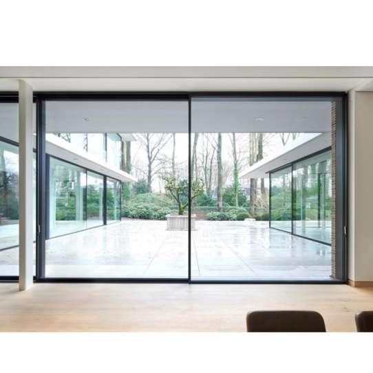 WDMA Exterior Waterproof 96 X 80 Slim Frame External Black Aluminium Sliding Double Glazed Glass Door Systems For Entrance