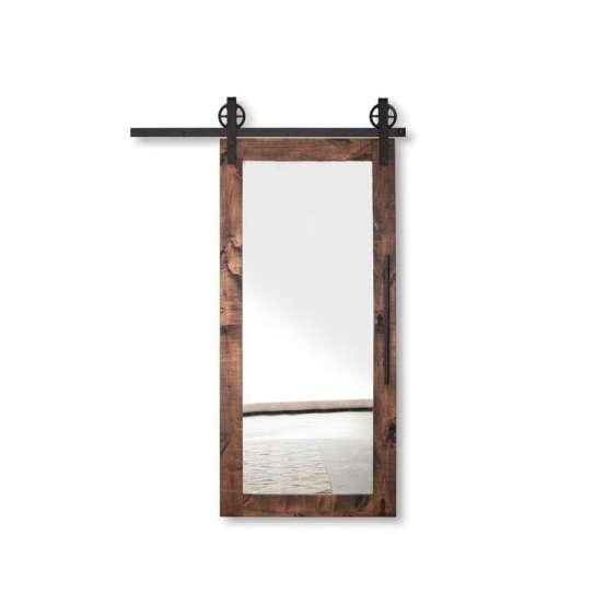 WDMA Exterior Wood Sliding Barn Door Partition Door With Mirror System
