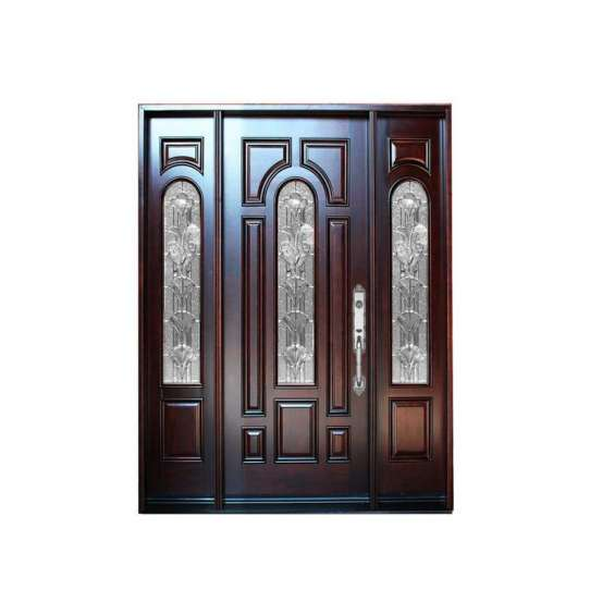 WDMA Factory Direct Sale External Solid Hardwood Front Door With Glass Design