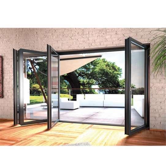 WDMA Factory Sale Shop Folding Doors Shatterproof Glass Semi-automatic Sliding Door