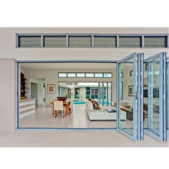 China WDMA Fancy European Style Curved Glass Sliding Folding Door Aluminium Framed Glass Door Exterior Modern