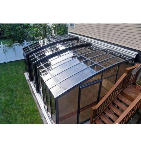 China WDMA Garden Greenhouse Veranda Curved Glass Roof Sunroom