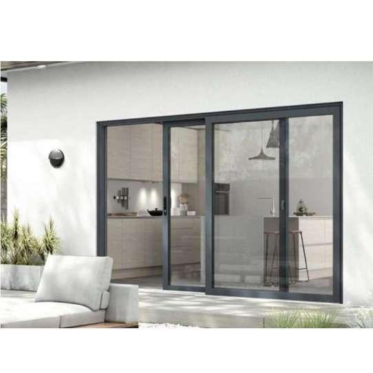 China WDMA Interior Aluminium Framed Sliding Frosted Glass Barn Door For Bedroom