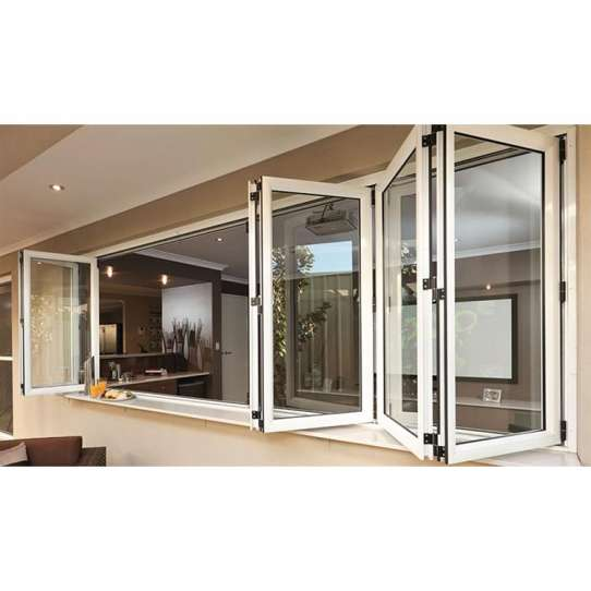 China WDMA Interior Brown Aluminum Alloy Style Folding Bi-fold Office Glass Sash Joint Windows With Built In Blinds