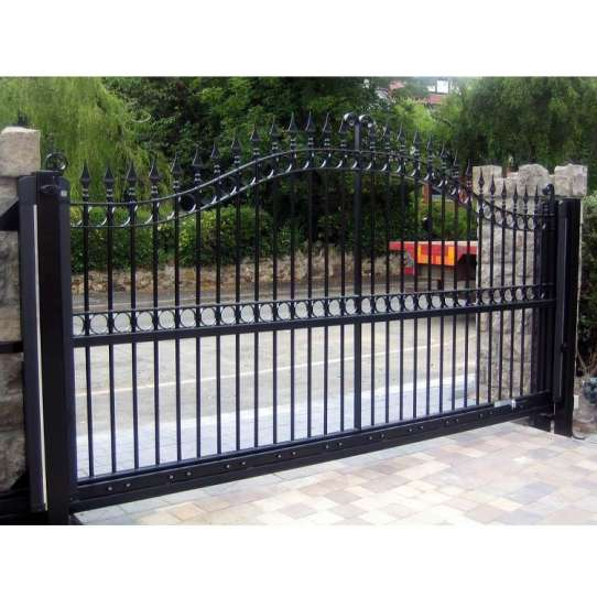 China WDMA Italian Style Big Wrought Iron Front Sliding Door Gate Design For Sale