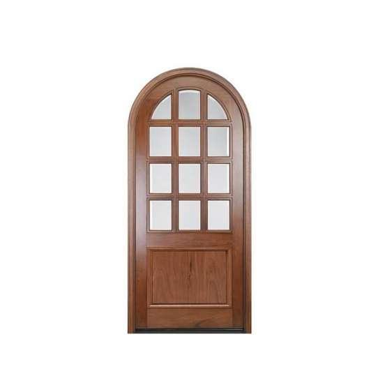 China WDMA Italy Handmade Mahogany Solid Wooden Main Entry Front Double Door With Half Moon Glass From Shandong