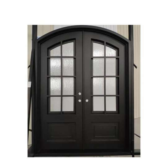 WDMA Luxurious Black Arch Forged Iron Double Entry Door For Apartment Design