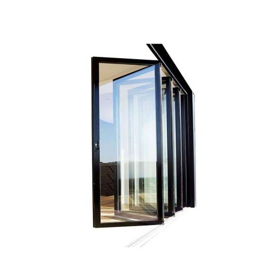 China WDMA Miami-dade County Approved Hurricane Certification Built-in Shutter Aluminium Frame Folding Door For Living Room