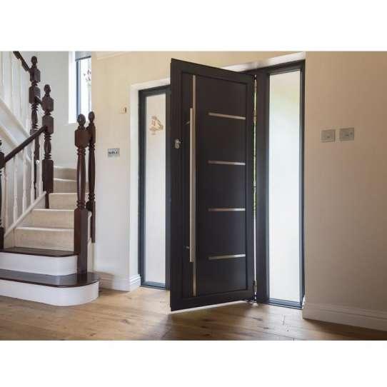 China WDMA Modern Exterior Aluminium Flat Pivot Entrance Entry Door Luxury House Aluminum Pivot Front Door