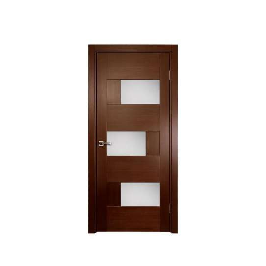 WDMA Modern Exterior Wooden Skin Door Glass