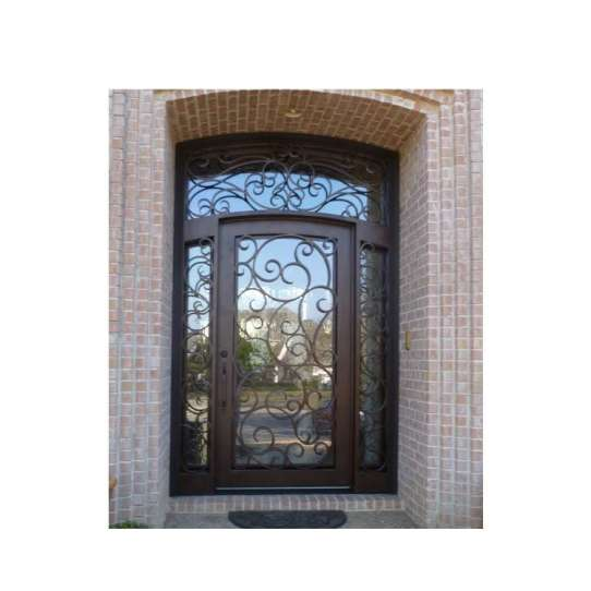China WDMA Modern Italian Pattern Antique Garden Use Arch Wrought Iron Door Front Gate Model