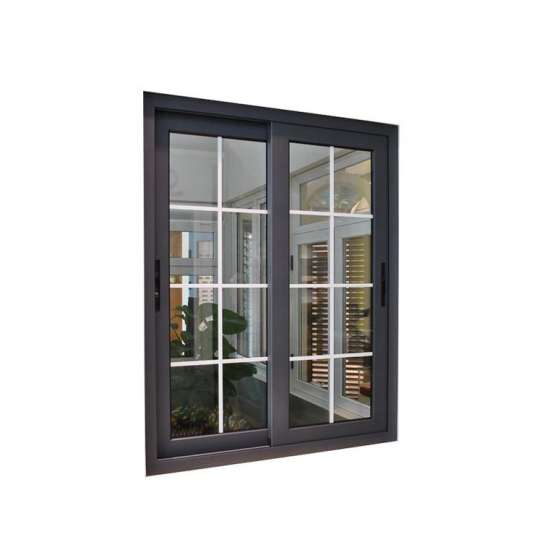 WDMA Modern Outside Double Glass Aluminium Sliding Window With Iron Grill Security Bars Inside Design Window Picture