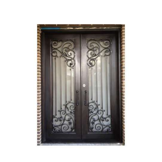WDMA New Simple Safety Iron Pipe Grill Glass Front Window Door Design